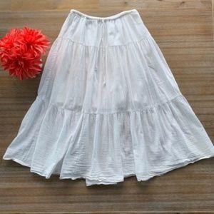 Old Navy Long White Gauze Tiered Ruffle Maxi Skirt